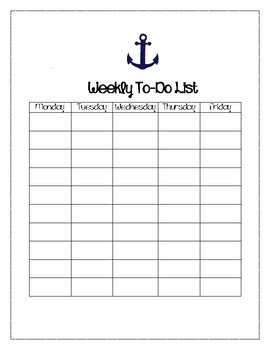 Anchor Themed Weekly To-Do List