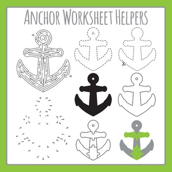Anchor Worksheet Helpers - Maze, Dot to Dot, etc - Commercial Use Clip Art Set