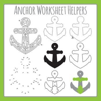 Anchor Worksheet Helpers - Maze, Dot to Dot, etc - Commercial Use Clip Art Set