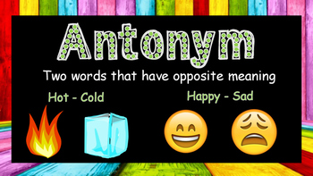 Anchor chart - Fact and Opinion, Synonym and Antonym, compound word
