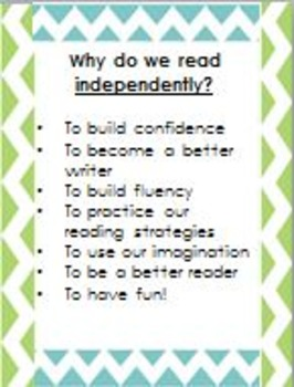 Anchor charts for why we read independently and buddy read