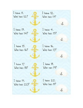 Anchor-themed I have/who has 11-20 counting game