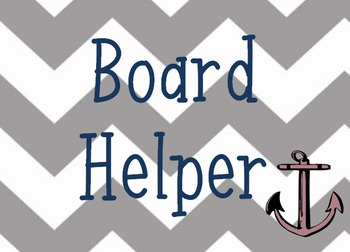 Anchor themed classroom jobs with chevron background