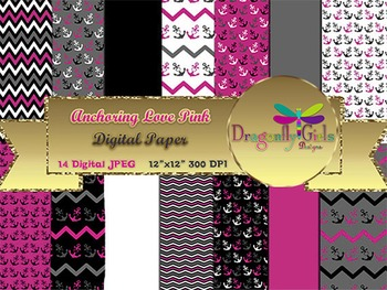 Anchoring Love Hot Pink digital paper, commercial use, scrapbook papers