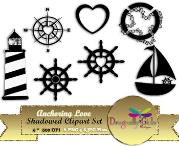 Anchoring Love Shadowed Clipart commercial use, vector graphics