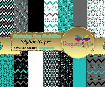 Anchoring Love Teal Blue digital paper, commercial use, sc