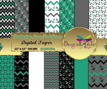 Anchoring Love Teal Green digital paper, commercial use, scrapbook papers