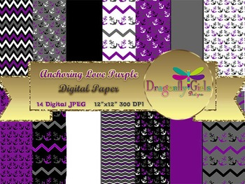 Anchoring Love Purple digital paper, commercial use, scrapbook papers