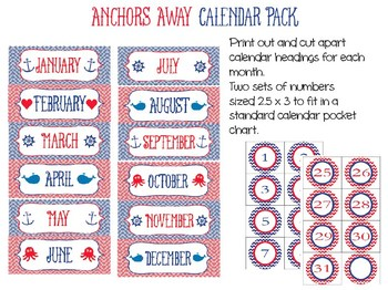 Anchors Away Calendar Set