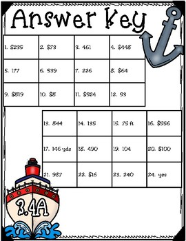 Anchors Away! Cruising with Addition and Subtraction (TEKS 3.4A) STAAR Practice