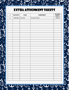 Anchors Away Monthly Assignment Calendar