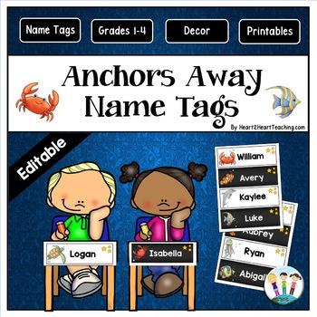 Anchors Away Name Tags and Desk Plates {EDITABLE}