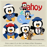 Anchors Away Penguins Clip Art Graphics