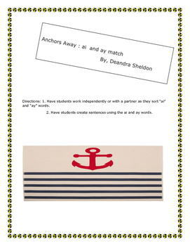 "Anchors Away ""ai"" and ""ay"" Word Match"