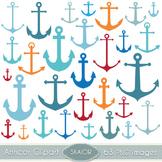 Anchors Clipart Digital Scrapbooking Vector Nautical Clip