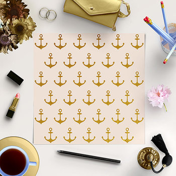 Anchors Digital Paper, Gold Anchor Pattern