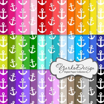 Anchors Pattern Digital Scrapbooking Paper Set, 42 Digital Papers