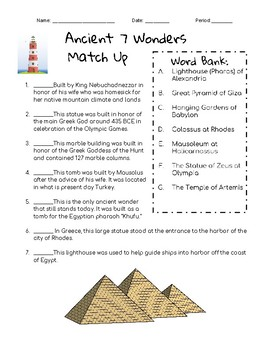 Ancient 7 Wonders of the World Match Up