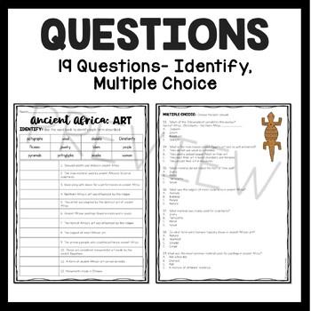 Ancient Africa Art Reading Comprehension; Ancient Africa; Masks; Sculptures
