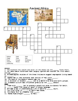 Ancient Africa Crossword or Web Quest