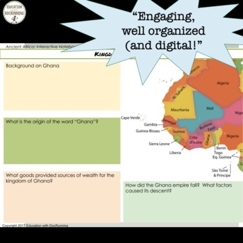 Ancient Africa Digital Interactive Notebook Graphic organizers for Google Drive