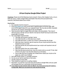 Ancient Africa Empires Google Slides Project.