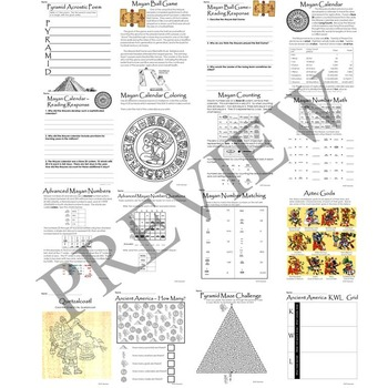 Ancient America and Mayan Aztec Inca Literacy and Math Activity Packet