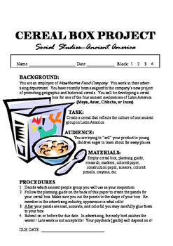 Ancient American Cereal Box Project