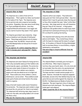 Ancient Assyria: Reading and Worksheet