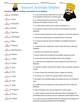 Ancient Assyrian Empire Activity Matching with Answer Key