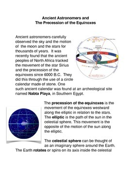 Ancient Astronomers and The Precession of the Equinoxes Common Core Activities