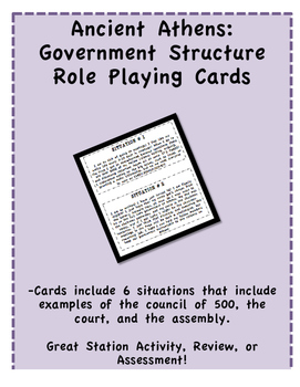 Ancient Athens Government Structure Role Playing Cards