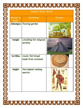 Ancient Aztec World Graphic Organizer