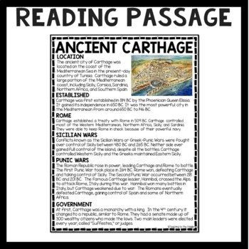 Ancient Carthage Reading Comprehension; Ancient Africa; Rome; Punic Wars