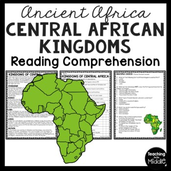 Ancient Central African Kingdoms Reading Comprehension; Ancient Africa; Zimbabwe