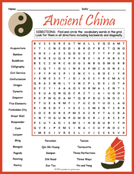 ancient china word search puzzle by puzzles to print tpt. Black Bedroom Furniture Sets. Home Design Ideas