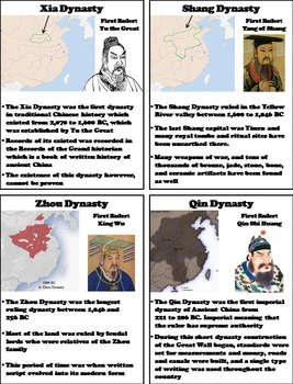 Ancient China Activity/ Chinese Dynasties Interactive Notebook