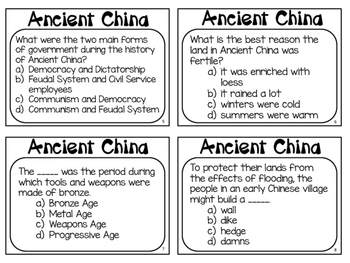 Ancient China Task Cards: What do you know about Ancient China?