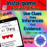 Ancient China Activity - Instagram (Editable Insta-game)