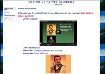 Ancient China Adventure Quest Using Common Core Stardands