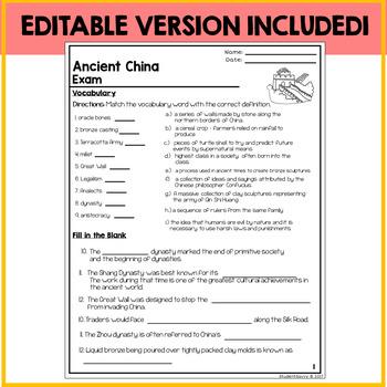 Ancient China Assessment Exam