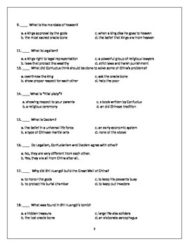 Ancient China Chapter Test