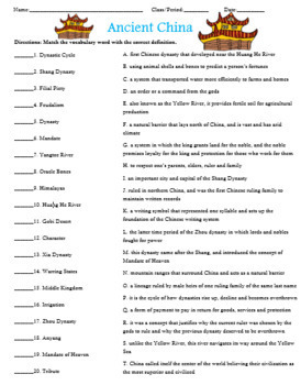 Ancient China Civilization Activity Matching with Answer Key