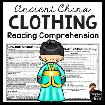 Ancient China Clothing Reading Comprehension; Fashion, Foot-binding, Silk