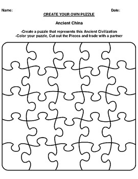 Ancient China Create your Own Puzzle Worksheet