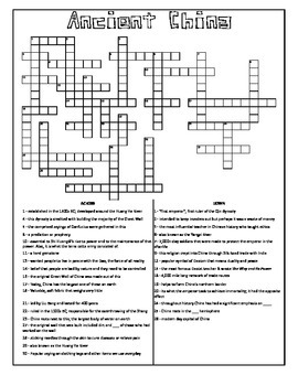 Ancient China Crossword Puzzle