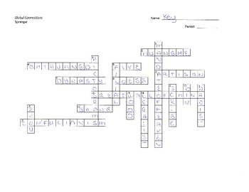 Ancient China Crossword Puzzle with key
