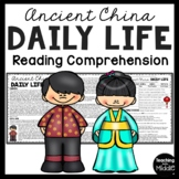 Ancient China Daily Life Informational Reading Comprehension Worksheet
