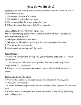 Ancient China Dynasty Project Assignment Sheet