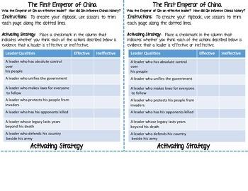 Ancient China Emperor Qin Think Sheet (TCI Chapter 22 Worksheet)